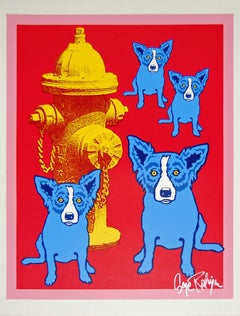 Dog On Cherry Jello With Fireplug - Signed Silkscreen Print Blue Dog