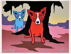Don't Like Bein' Blue - Split Font - Signed Silkscreen Print - Blue Dog