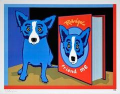 Friend Me - Signed Silkscreen Blue Dog Print