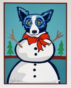 Frosty Christmas - Signed Silkscreen Print - Blue Dog