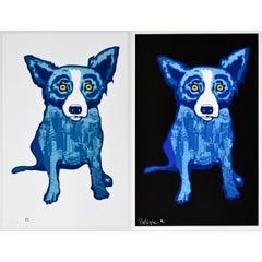 """Blue Dog """"City Slicker Black/White Combo"""" Print Signed Artwork"""