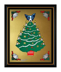 George Rodrigue Original Blue Dog Color Silkscreen Tree Toper Hand Signed Art