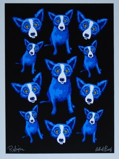 Group Therapy Black - Signed Silkscreen Blue Dog Print