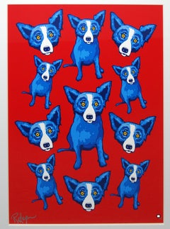Group Therapy Red - Signed Silkscreen Blue Dog Print