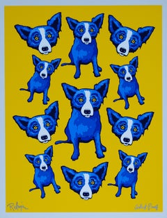 Group Therapy Yellow - Signed Silkscreen Blue Dog Print