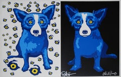 Half-n-Half Black/Eyes - Signed Silkscreen Print - Blue Dog