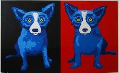 Half-n-Half Black/Red - Signed Silkscreen Print Blue Dog