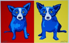Half-n-Half Red/Yellow - Signed Silkscreen Print Blue Dog