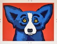 Head Over Heels Red - Signed Silkscreen Print Blue Dog