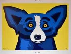 Head Over Heels Yellow - Signed Silkscreen Print Blue Dog