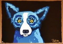Head Shot Black - Signed Silkscreen Pint - Blue Dog