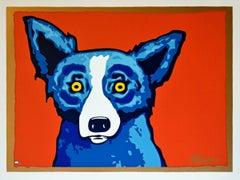 Head Shot Red - Signed Silkscreen Print Blue Dog