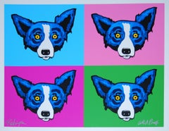 Heads or Tails - Signed Silkscreen Blue Dog Print
