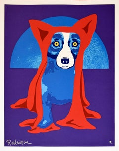 Hiding From the Moon - Signed Silkscreen Print Blue Dog