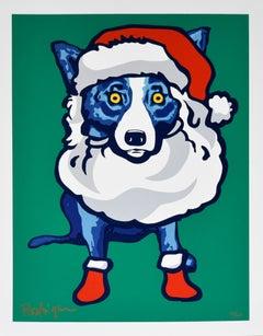 Ho-Ho-Ho - Signed Slikscreen Print Blue Dog