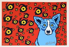 I see You, You See Me Red - Signed Silkscreen Print Blue Dog