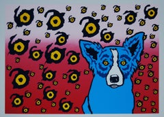 I see You, You See Me Split Font - Signed Silkscreen Blue Dog Print
