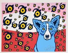 I See You, You See Me - Split Font Unique - Signed Silkscreen Print - Blue Dog