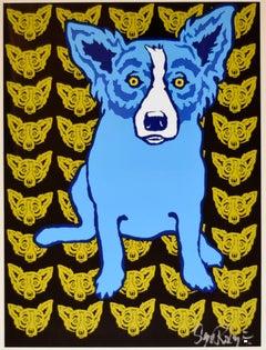 I'm Always With Myself Yellow - Signed Silkscreen Print Blue Dog