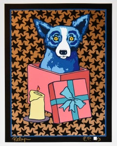 Jingle My Bells At Night - Black Stars - Signed Silkscreen Print - Blue Dog