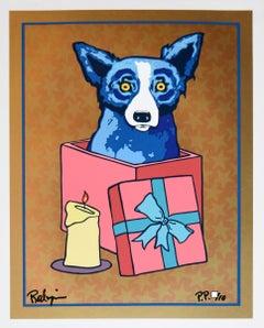 Jingle My Bells At Night - Gold - Signed Silkscreen Print - Blue Dog