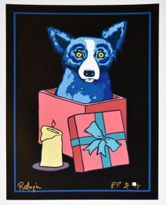 Jingle My Bells At Night - Remarqued w/Flower - Signed Silkscreen - Blue Dog