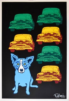 Junkyard Dog - Signed Silkscreen Print Blue Dog