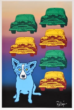Junkyard Dog - Split Font - Signed Silkscreen Print Blue Dog