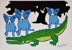Later Gator - White - Signed Silkscreen Print Blue Dog