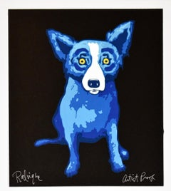 Li'l Blue Dog Black - Signed Silkscreen Print Blue Dog