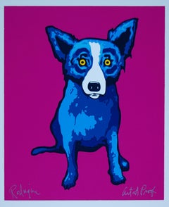 Li'l Blue Dog Magenta - Signed Silkscreen Print Blue Dog