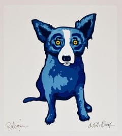 Li'l Blue Dog White - Signed Silkscreen Print - Blue Dog