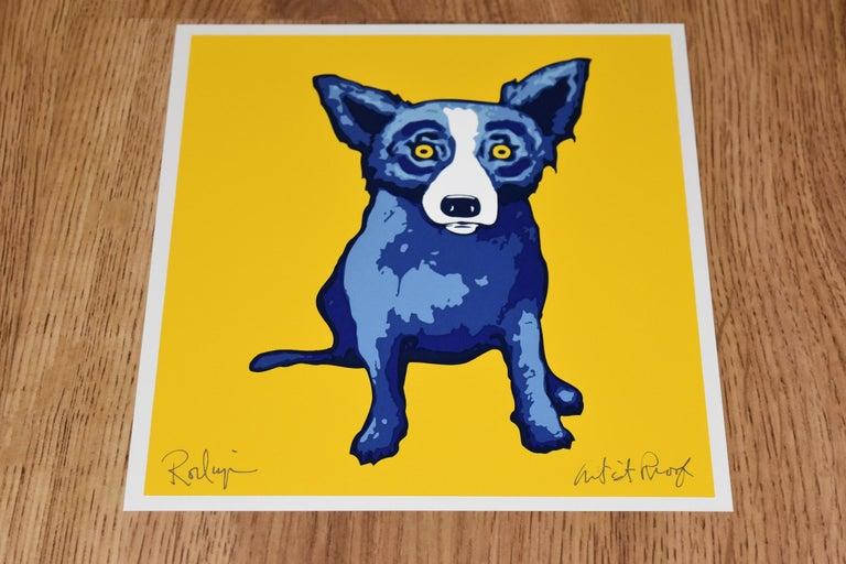 "Artist:  George Rodrigue Title:  Blue Dog ""Li'l Blue Dog - Yellow"" Medium:  Silkscreen  Date:  1998 Edition:  Artist Proof Dimensions:  10 X 9"" Description:  Signed & Unframed Condition:  Excellent"
