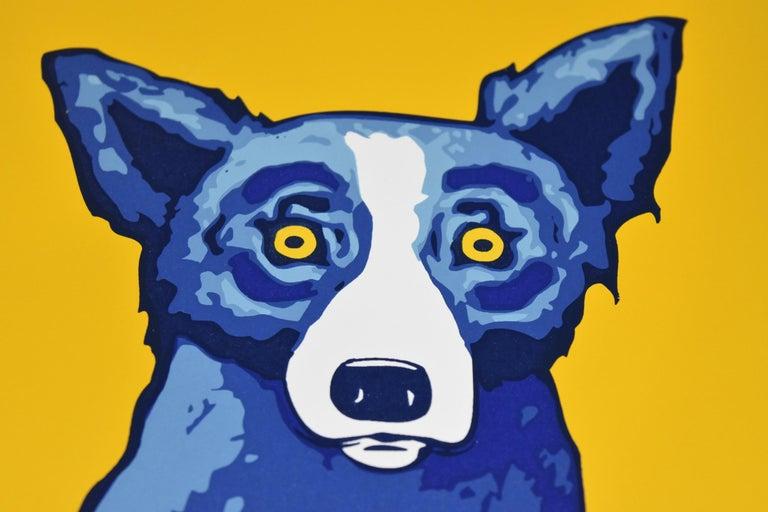 Li'l Blue Dog - Yellow - Signed Silkscreen Print Blue Dog For Sale 1