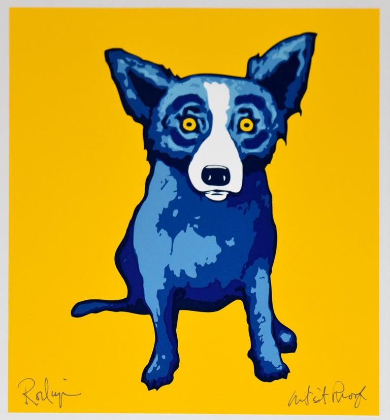 George Rodrigue Animal Print - Li'l Blue Dog - Yellow - Signed Silkscreen Print Blue Dog