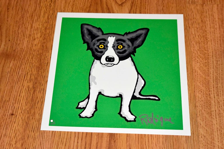 """Artist:  George Rodrigue Title:  Blue Dog """"Little Bitty Blue Dog - Green"""" Medium:  Silkscreen  Date:  2000 Edition:  Japanese Edition of 25 Dimensions:  9 X 8"""" Description:  Signed & Unframed   Condition:  Excellent"""