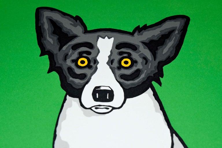 Little Bitty Blue Dog Green - Signed Silkscreen Print For Sale 1