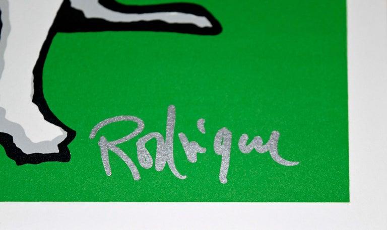 Little Bitty Blue Dog Green - Signed Silkscreen Print For Sale 2
