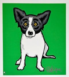 Little Bitty Blue Dog Green - Signed Silkscreen Print