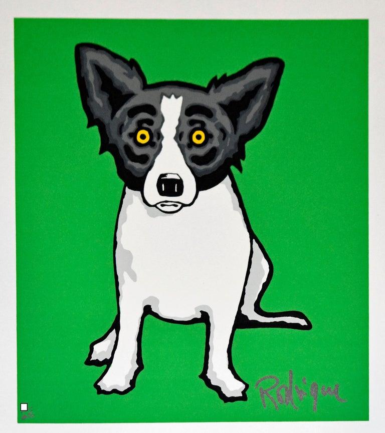 George Rodrigue Animal Print - Little Bitty Blue Dog Green - Signed Silkscreen Print