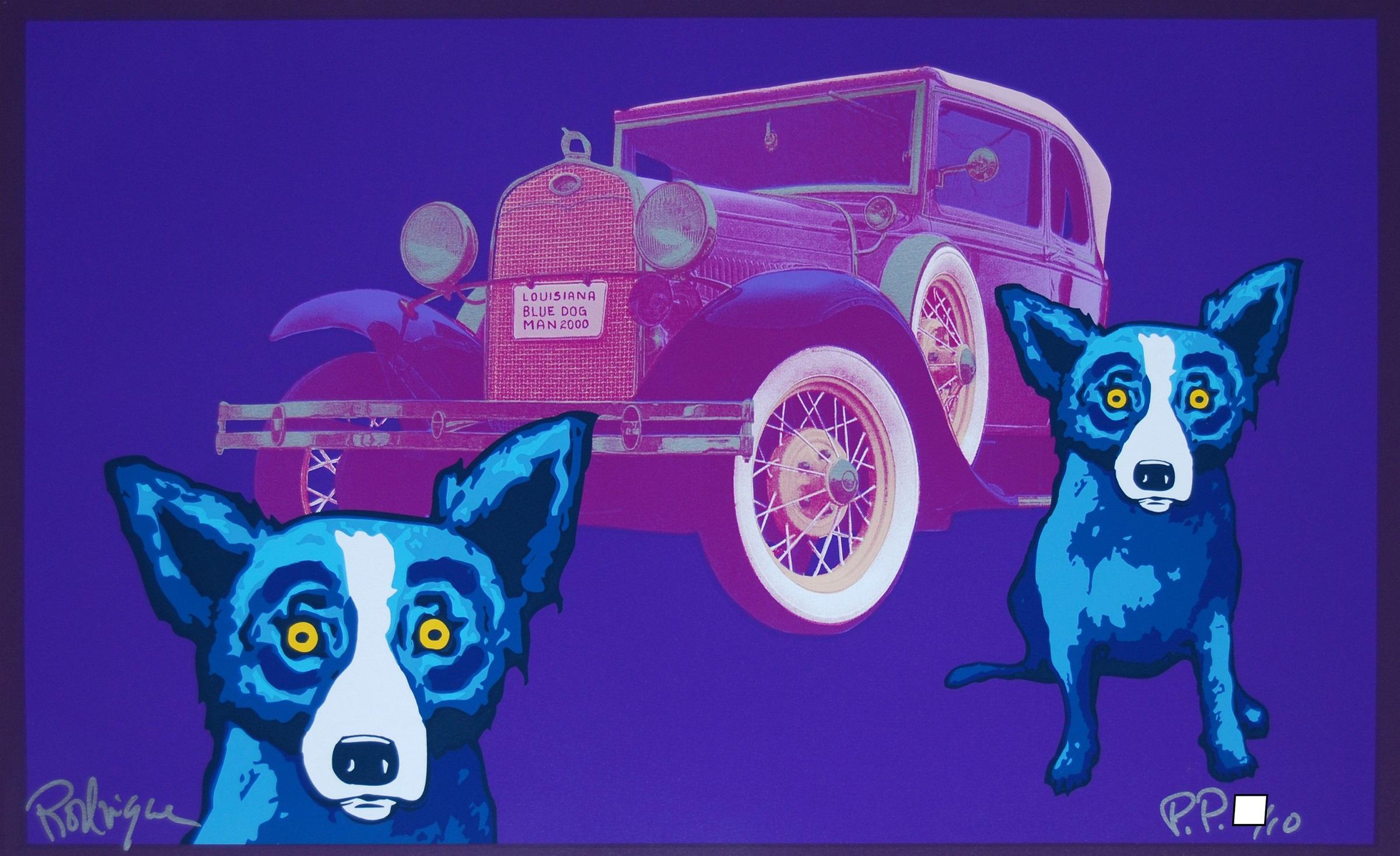 Louisiana Blue Dog Man - Signed Silkscreen Blue Dog Print