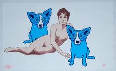 Love Among the Ruins White/No Tree - Signed Silkscreen Blue Dog Print