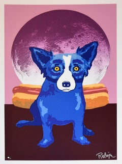 Lunar Buns - Signed Silkscreen Print - Blue Dog
