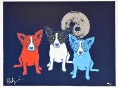 Me, Myself and I - Signed Silkscreen Print Blue Dog