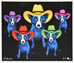 Midnight Cowboy - Split Font - Signed Silkscreen Print - Blue Dog