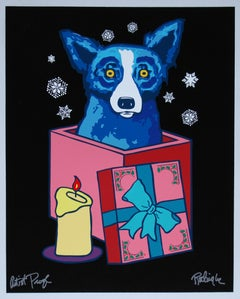 Midnight Surprise - Signed Silkscreen Print Blue Dog Holiday Print Sale
