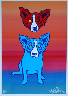 Mischief On My Mind Split Font - Signed Silkscreen Blue Dog Print