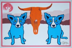 Moo-Cow Blues White - Signed Silkscreen Print Blue Dog