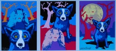 Night Love White - Signed Silkscreen Blue Dog Print