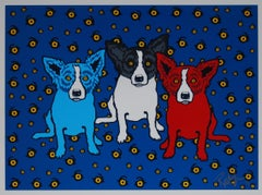 Oh Say Can You See - Signed Silkscreen Blue Dog Print